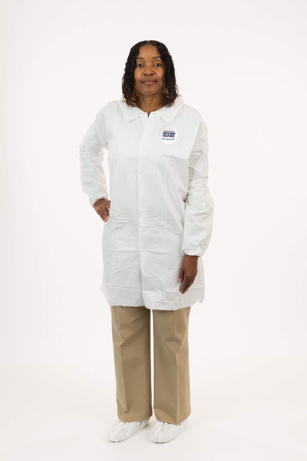 International Enviroguard MicroGuard MP® Microporous Lab Coat, No Pockets, Elastic Wrist, Standard Collar