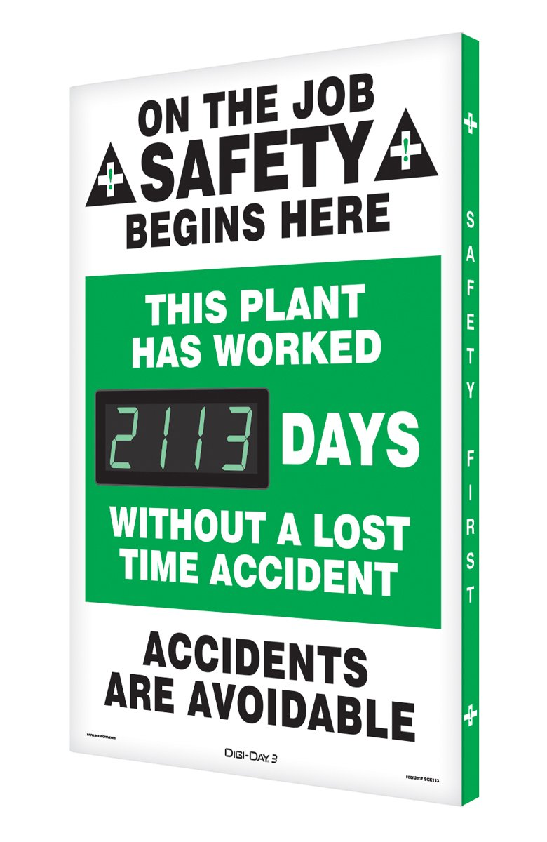 Accuform Digi-Day® 3 Electronic Safety Scoreboards: This Plant Has Worked _Days Without A Lost Time Accident