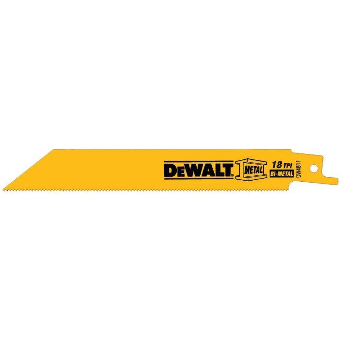 DeWALT® 18 TPI Straight Back Bi-Metal Reciprocating Saw Blade, 6