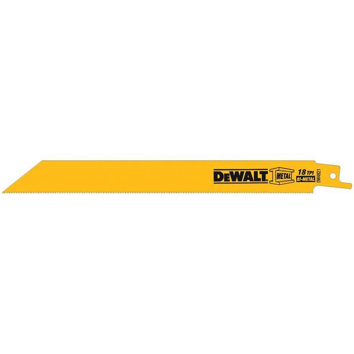 DeWALT® 18 TPI Straight Back Bi-Metal Reciprocating Saw Blade, 8