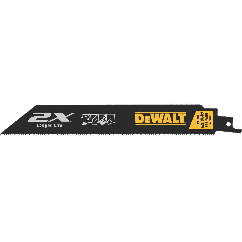 DeWALT® 2X Long Life Metal Cutting Reciprocating Saw Blade, 8