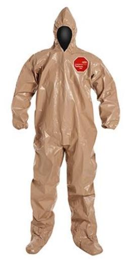 DuPont™ Tychem® 5000 Coverall, Hood, Elastic Wrists, Att. Socks,  6/cs