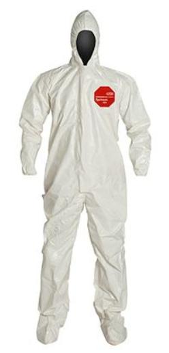 DuPont™ Tychem® 4000 Coverall, Hood, Elastic Wrists, Att. Socks, 6/cs
