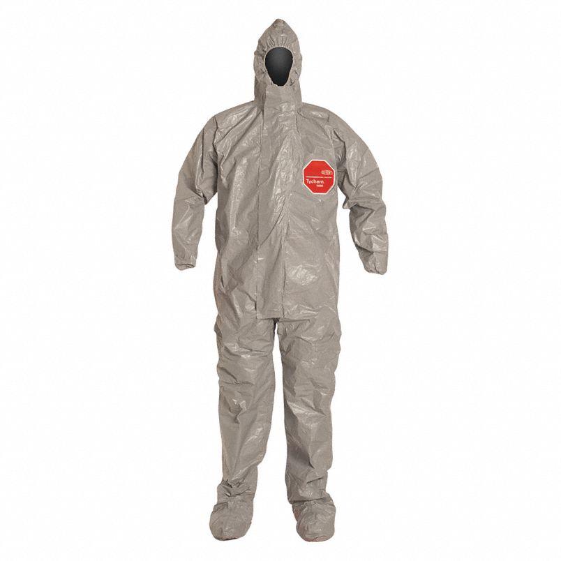 DuPont™ Tychem® 6000 Coverall, Respirator Fit Hood, Elastic Wrists, Att. Socks