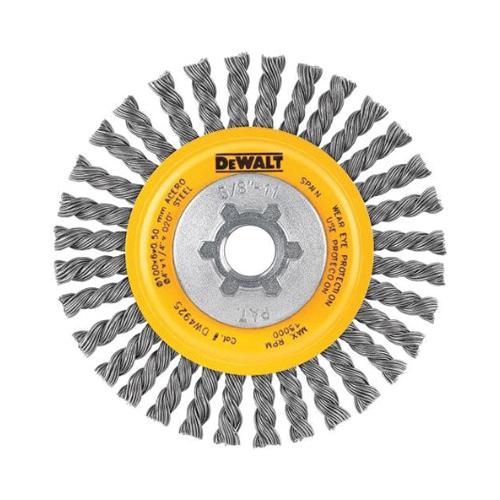 DeWALT® DW4925B High Performance Wire Wheel Brush -  4 in Dia x 3/8 in W -  5/8-11 -  0.02 in Stringer Bead Wire