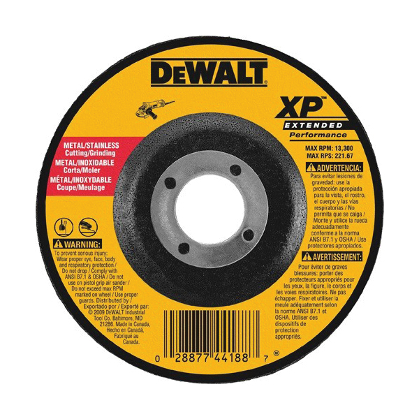 DeWALT® DW8807 Type 27 Depressed Center Wheel -  4-1/2 in Dia x 1/8 in THK -  5/8-11 -  Z24R Grit -  Zirconia Alumina Abrasive