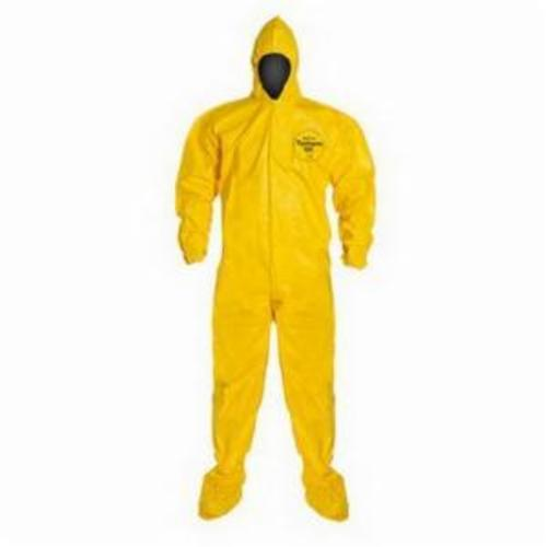 DuPont™ Tychem® QC122BYL, Disposable Coverall with Attached Hood and Socks, 12/cs