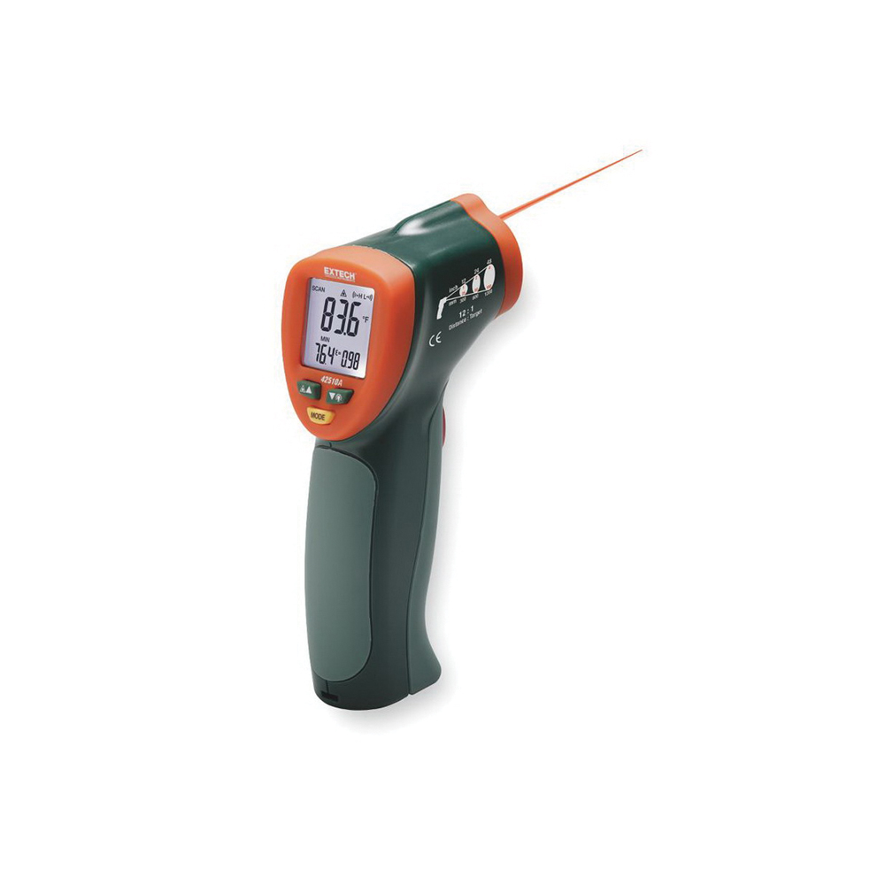 EXTECH® 42510A Wide Range Mini Infrared Thermometer -  -58 to 1200 deg F -  +/- 1% -  + 2 deg F -  1 in at 12 in -  9 V Battery