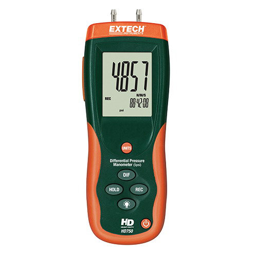 EXTECH® HD750 Handheld Differential Pressure Manometer -  5 psi -  0 - 34.47 kPa -  32 - 122 deg F Working -  +/-0.3% FS