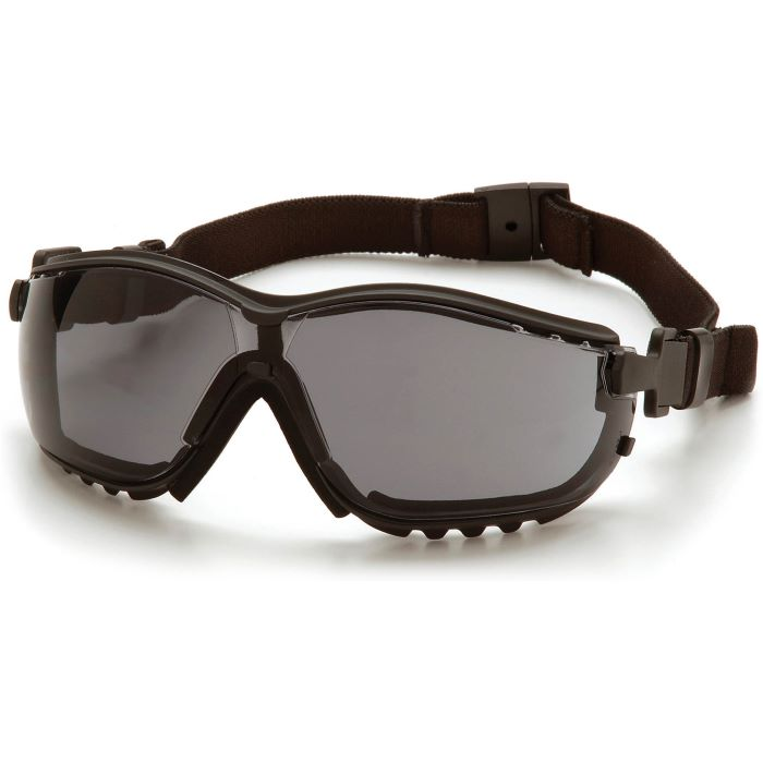 Pyramex® V2G® Protective Goggles, Black Frame, Gray H2X Anti-Fog Lens