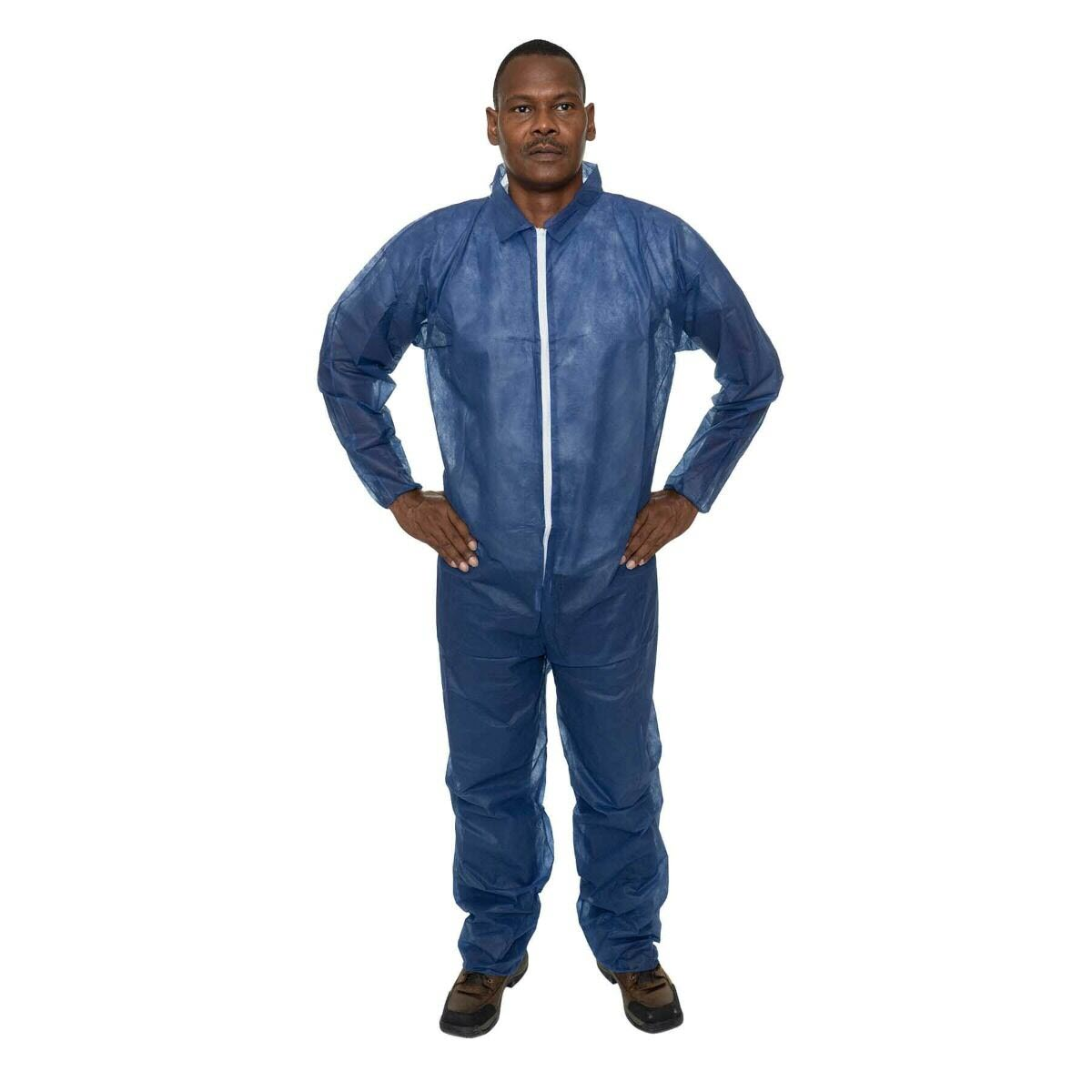 International Enviroguard - Navy Blue Polypropylene Coverall, Elastic Wrist, Open Ankle