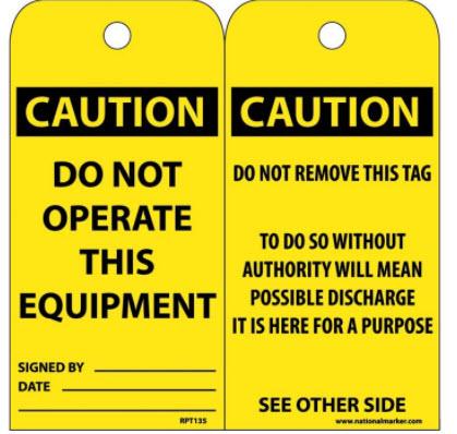 Yellow Caution Tag