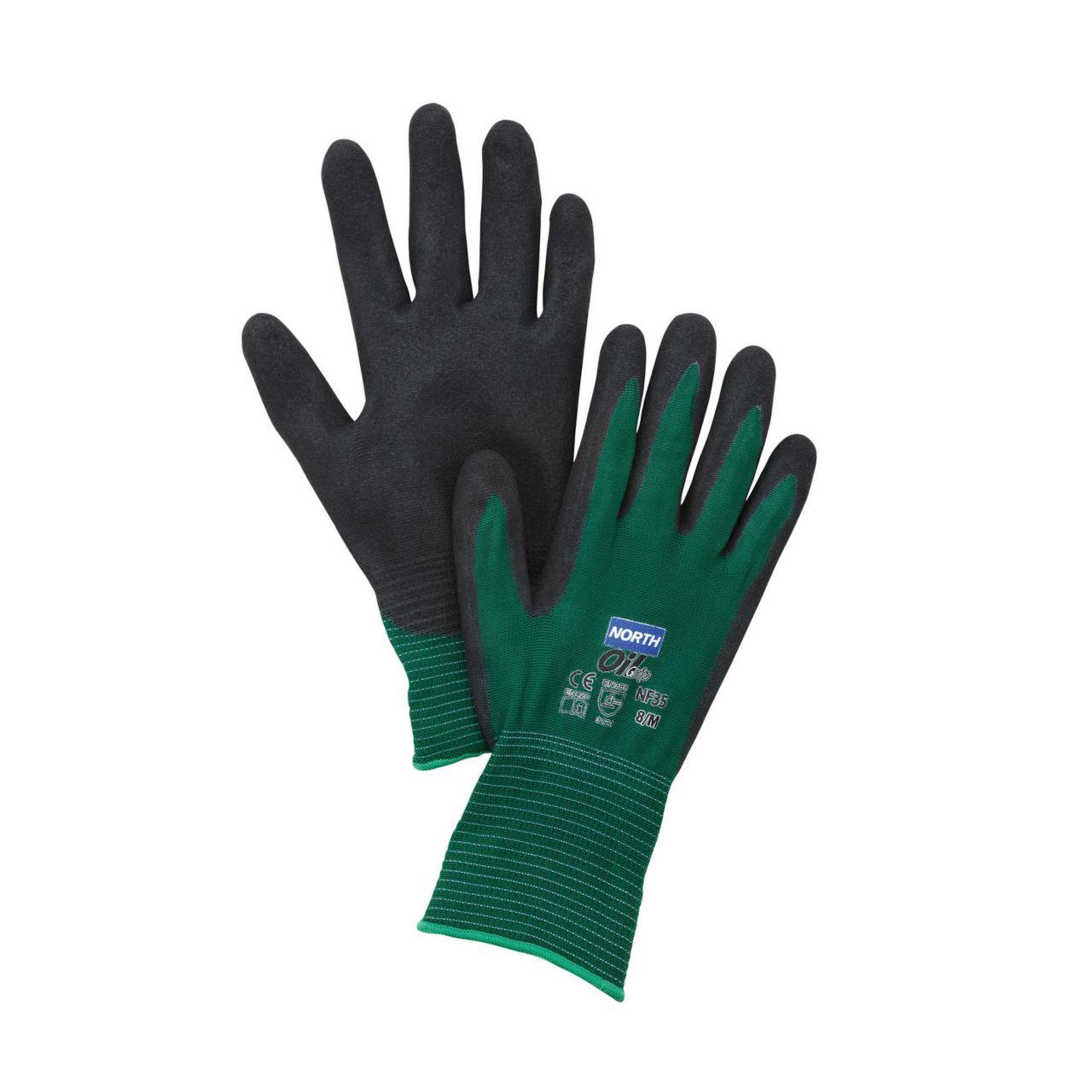 NorthFlex Oil Grip™ NF35 Foam Nitrile 2-Stage Palm Coated Gloves, Green/Black
