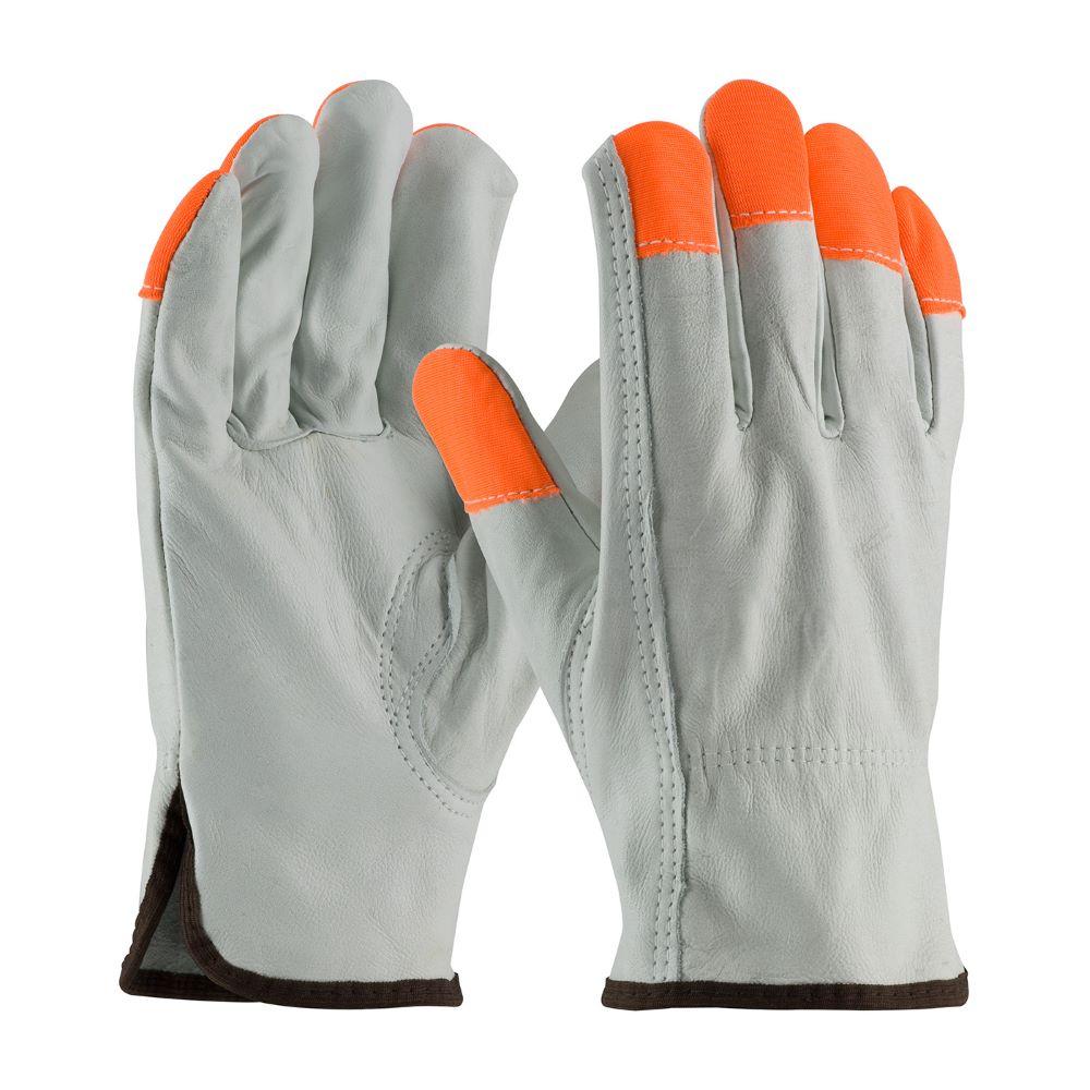 PIP® 68-163HV Regular Grade Leather Drivers Glove, HV Fingertips, Size Small