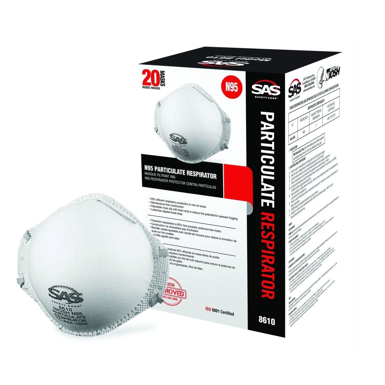 SAS® (8610) N95 Particulate Respirator, 20/box