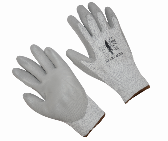 SPARTACUS A4 Cut Resistant Glove with PU Coated Palm, Gray/Black