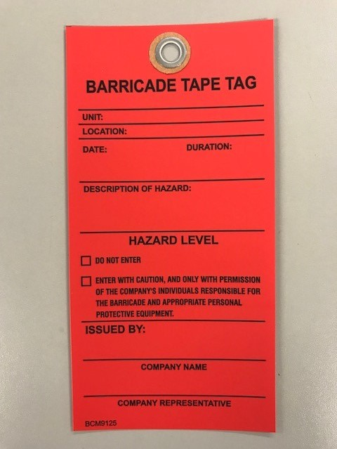 Big City Manufacturing® 1-Sided Barricade Tape Tag, Red