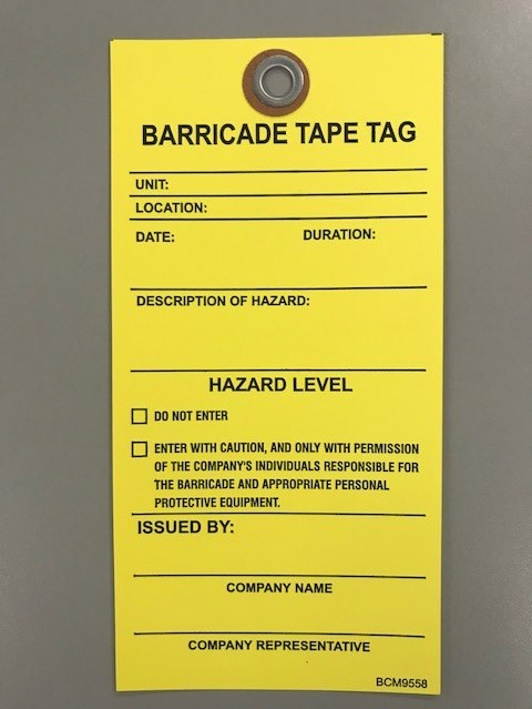 Big City Manufacturing® Barricade Tape Tag, Yellow