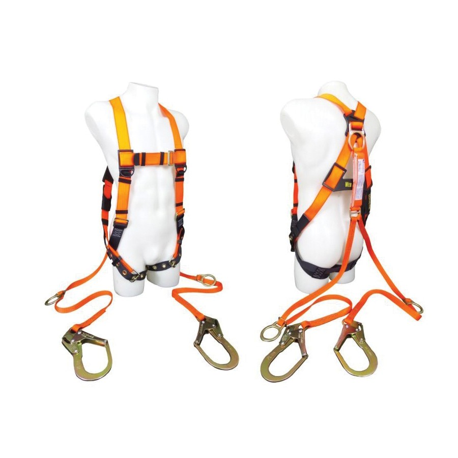 Web Devices Economy Highly Visible Harness/Lanyard Combo With Rebar Hook -  Fluorescent Orange -  Polyester Strap