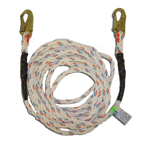 Web Devices Vertical Rope Lifeline With (2) Snap Hooks -  50 ft L -  Polyester Line