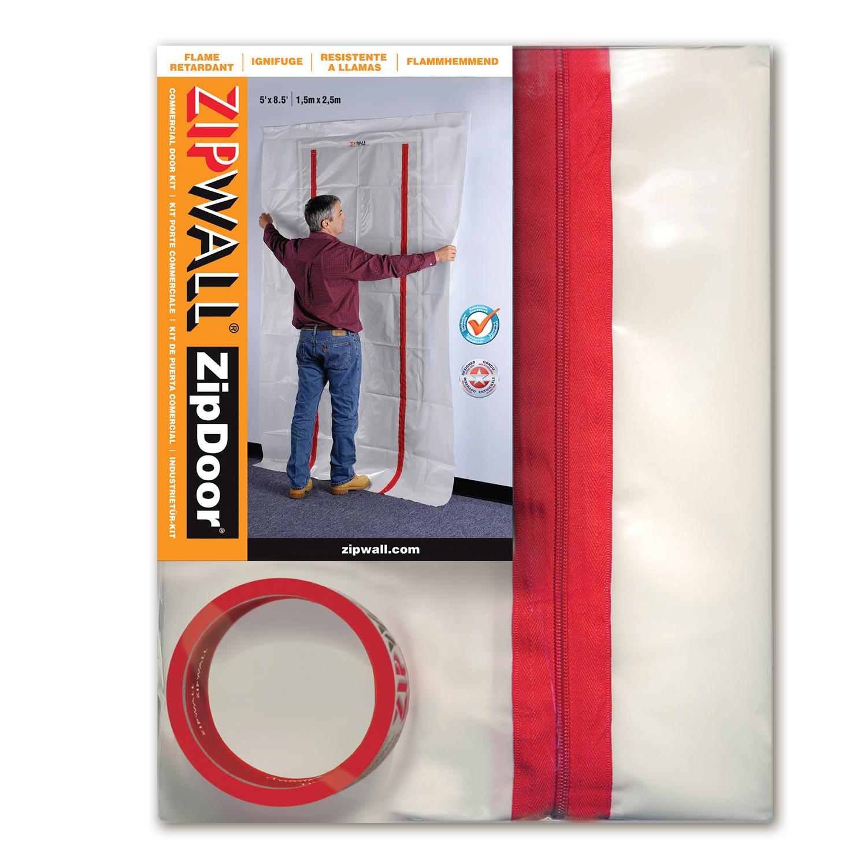 ZipDoor® (ZDC) Commercial Door Kit, 5' x 8.5', Flame Retardant