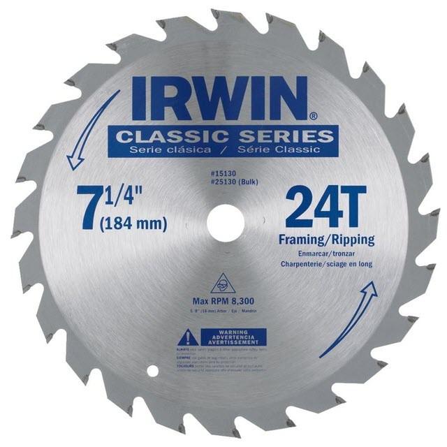 "IRWIN 25130 Classic Circular Saw Blade for Wood, 7-1/4"""