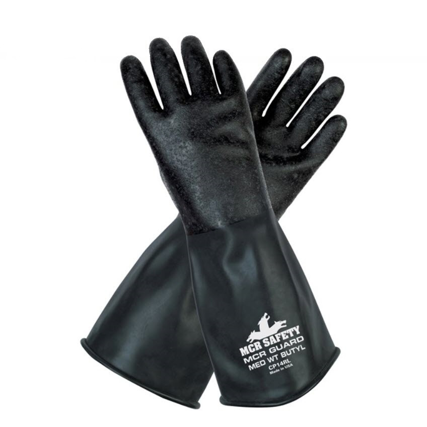 """MCR Safety Butyl 14 mil Rubber Glove with Rough Finish and Gauntlet Cuff, 14"""""""