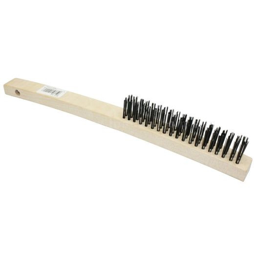 Wire Scratch Brush, Curved Handle, Carbon Steel Bristles