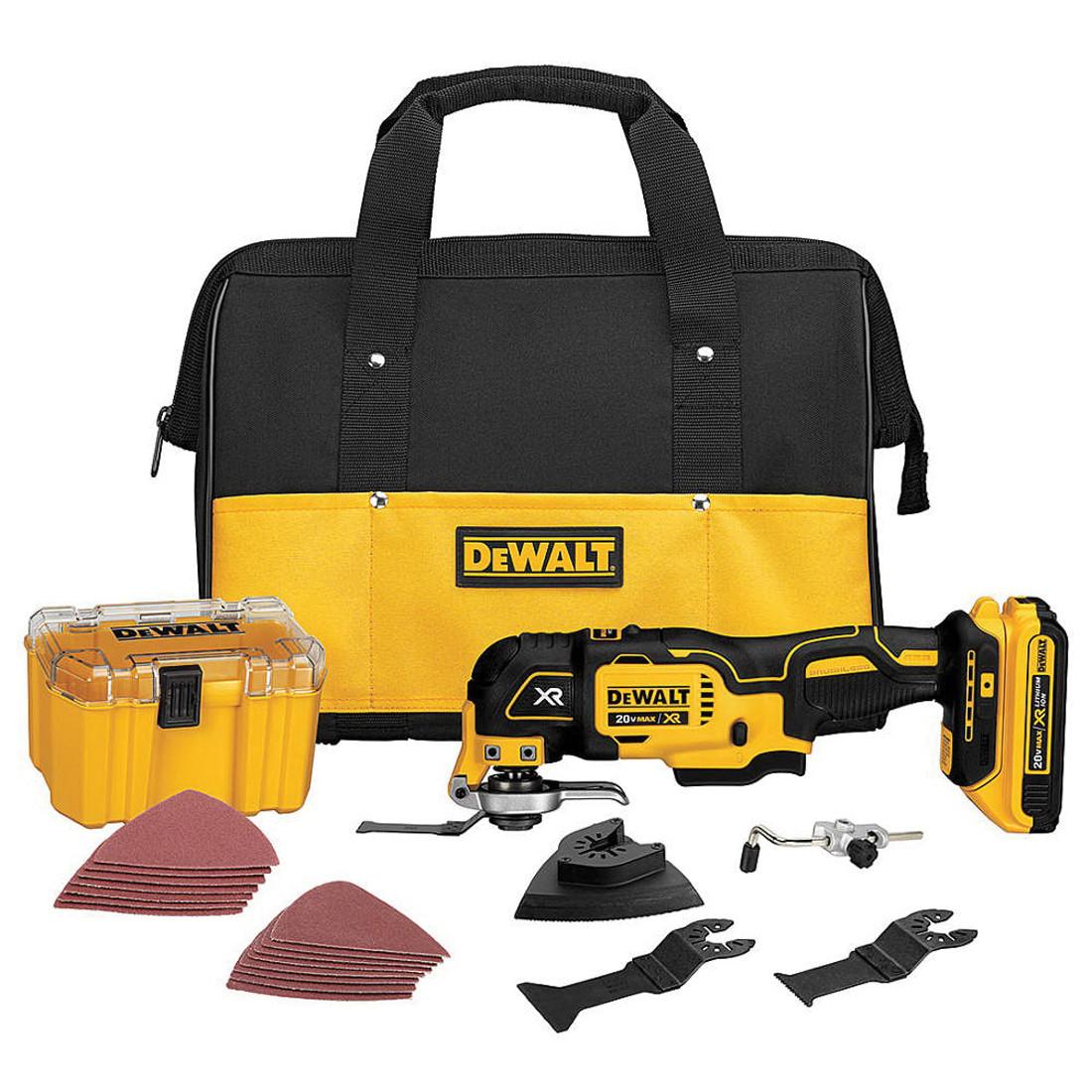 DeWALT® DCS355D1 Quick-Change Oscillating Multi-Tool Kit -  20 V -  2 Ah Li-Ion Battery -  21000 opm