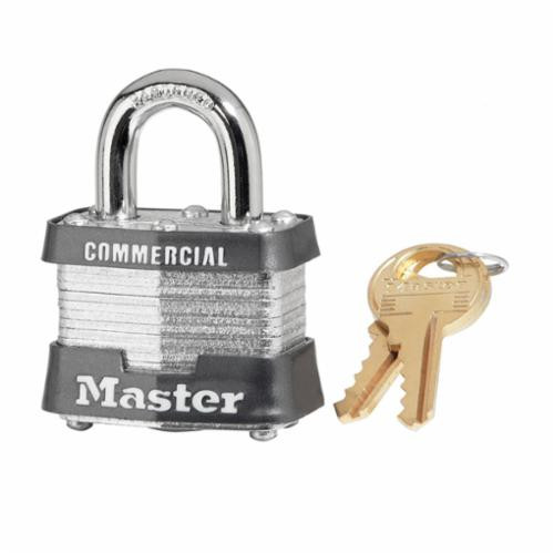 Master Lock® 3KD Commercial Grade Non-Rekeyable Safety Padlock -  Keyed Different -  9/32 in Shackle -  4-Pin Tumbler Locking