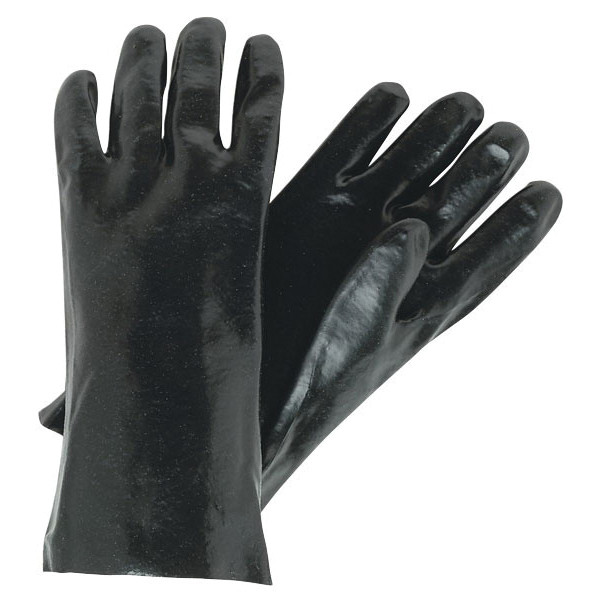 Memphis 6212R Industrial Grade Coated Gloves -  L -  PVC Palm -  Black/White -  Standard Finger -  Single Dipped -  Wing Thumb