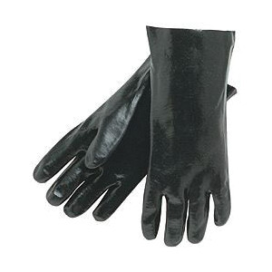 Memphis 6300 Industrial Grade Coated Gloves -  L -  PVC Palm -  Black/White -  Standard Finger -  Single Dipped -  Wing Thumb