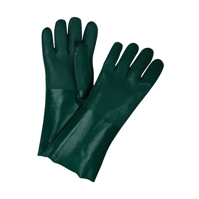 Memphis 6424 Double Dipped Industrial Grade Supported Coated Gloves -  L -  PVC Palm -  Hunter Green/White -  PVC