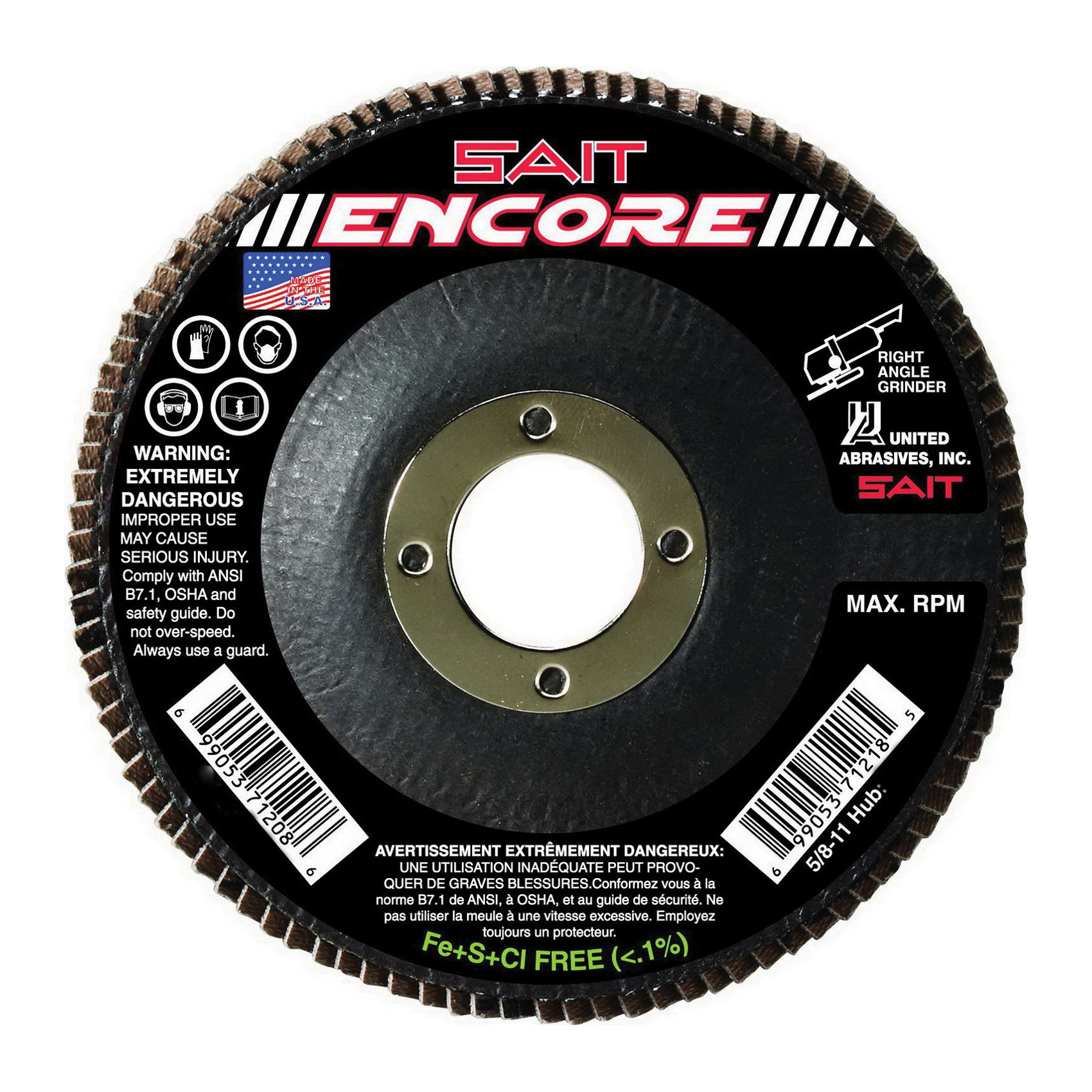 SAIT® 71216 Flat High Performance Type 27 Coated Flap Disc -  4-1/2 in Dia -  5/8-11 -  40 Grit -  Coarse Grade