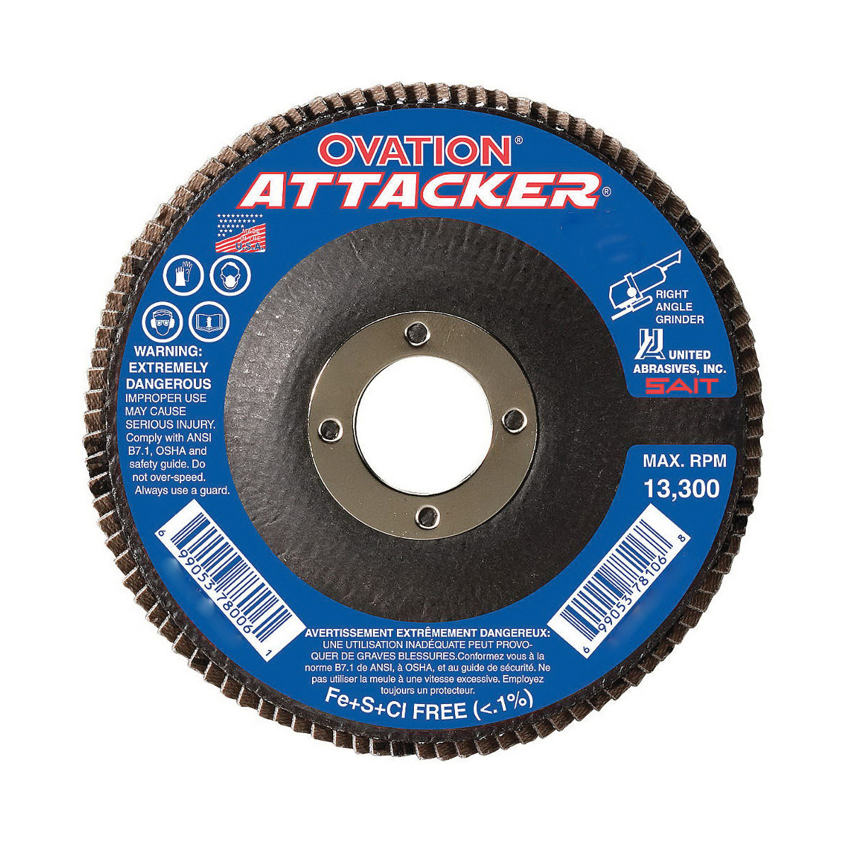 SAIT® 76209 Flat High Performance Type 27 Coated Flap Disc -  4-1/2 in Dia -  7/8 in -  80 Grit -  Medium Grade