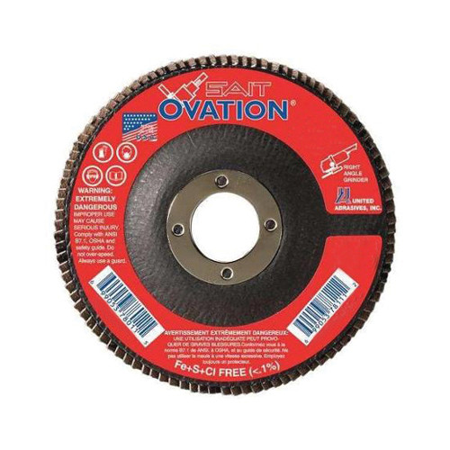 SAIT® 78009 Flat High Performance Type 27 Coated Flap Disc 10 per BX -  4-1/2 in Dia -  7/8 in -  80 Grit -  Medium Grade