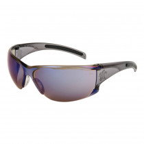 MCR Safety HK1 Series Safety Glasses, Smoke Temple, Blue Mirror Lens