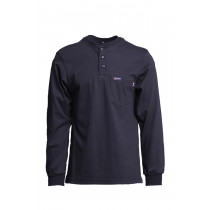 LAPCO FR™ 7oz Henley Jersey Knit Tees, 100% Cotton, Navy w/Harvest Logo