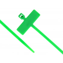 """8"""" Miniature Cable Ties w/Identification Flag, 100/pk, Green"""