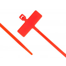 """8"""" Miniature Cable Ties w/Identification Flag, 100/pk, Red"""