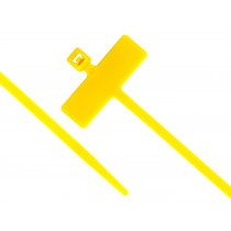 """8"""" Miniature Cable Ties w/Identification Flag, 100/pk, Yellow"""
