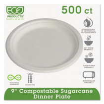 """Eco-Products Compostable Sugarcane 9"""" White Plate, 500 Plates"""