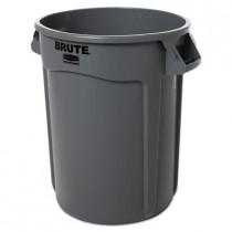 Round Brute Container - Plastic - 32 Gal - Gray
