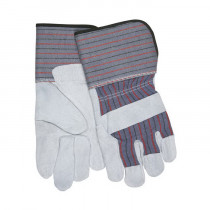 Memphis 12011 Economy Grade Leather Palm Gloves -  L -  Cow Skin Leather Palm -  Gray -  Blue/Red/Black Stripes