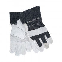 Memphis 1220DX Economy Grade Cow Skin Leather Palm Gloves, Gray/Blue, L