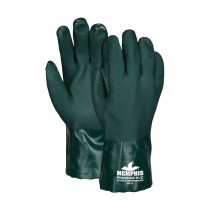 Memphis 6412 Double Dipped Premium Grade Supported Coated Gloves -  L -  PVC Palm -  Hunter Green/White