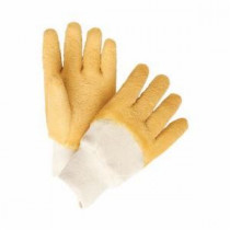 Memphis 6830 Industrial Grade Single Dipped Supported Coated Gloves -  L -  Latex Palm -  Yellow/White -  Latex