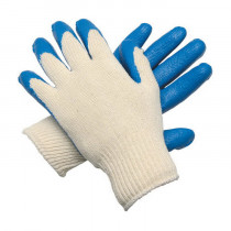 Memphis 9682 Dipped Coated Gloves -  L -  Latex Palm -  Blue/White -  Standard Finger -  Polyester/Cotton Thread