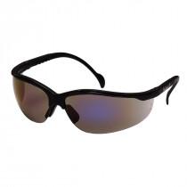 Pyramex® Venture II® Safety Glasses, Black Frame, Blue Mirror Lens