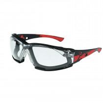 Radians® Obliterator™ IQ - IQUITY™ AF Foam Lined Safety Glasses, Black/Red Frame, Clear Lens